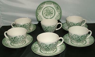 6 Wood & Sons Westminster Westminister Green Rose Transferware Cups & Saucers