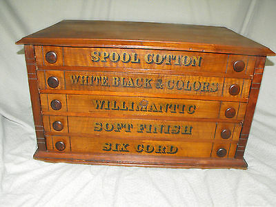 Antique Willimantic 5 Drawer Spool / Thread Cabinet