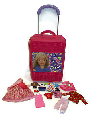 Barbie Doll Pink Take-A-Long Rolling Suitcase Luggage Storage & Barbie Clothes