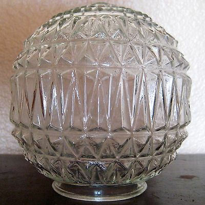 "Diamond Textured Glass Light Fixture 6"" Globe Sphere"