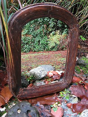 "12 1/2"" X 15 1/2"" ANTIQUE Primitive wooden mirror frame gorgeous 1800's salvage~"