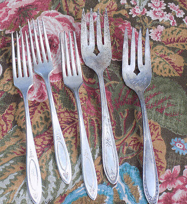 Lot of 5 Silverplate Forks