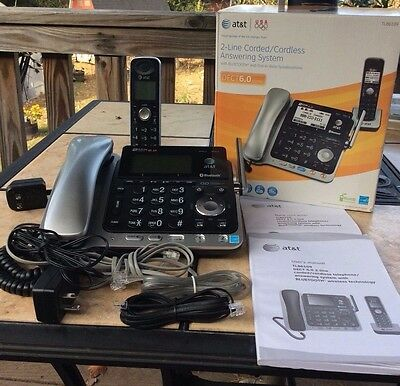 AT&T 2 line corded cordless answering system Dect 6.0 Digital TL86109