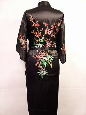 Size 10 Chinese Blossom Womens Ladies Black Satin Fully Lined Robe/Dressing Gown