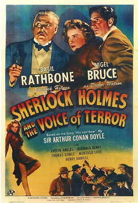 SHERLOCK HOLMES AND THE VOICE OF TERROR Movie Promo POSTER Basil Rathbone