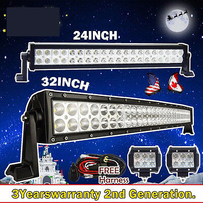 "32inch Curved + 24inch LED Light Bar +2X 4"" Free CREE Pods Offroad Jeep Ford SUV"