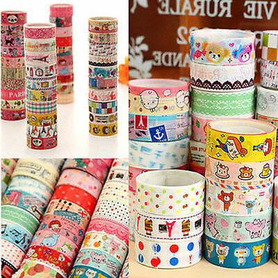 50pcs Rolls Mixed Cartoon Deco Washi Tape Adhesive Scrapbooking Sticker