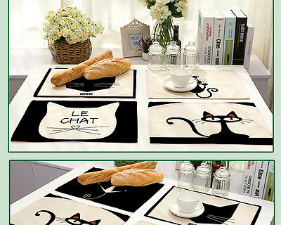 Cotton Linen Black Cat Printed Insulation Placemats Dining Pad Western Table Mat