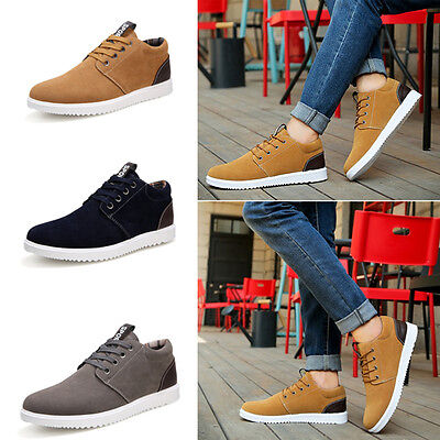 Men's Fashion European Style Suede Lace Up Formal Casual Sneakers Trainers Shoes
