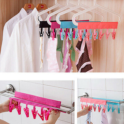 Clothes Clip Rack Bathroom Travel Foldable Towel Hangers 6 Clips  Ornate