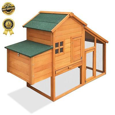 Rabbit Hutch Chicken Coop Guinea Pig Ferret Cage Hen Chook Wood House Run Large