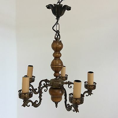 Attractive Antique Style Turned Walnut and Rococco Brass 5 Arm Chandelier