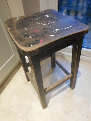 Vintage wooden lab stool with shaped seat, school science art room bar kitchen