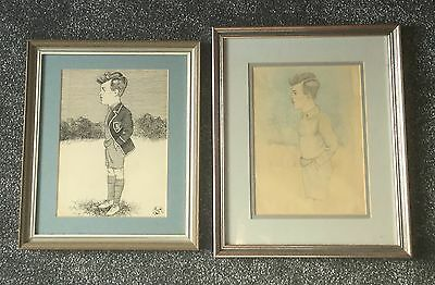 Pair Of Framed Caricatures Of Schoolboy, Line Drawing & Pastel, Signed Asm