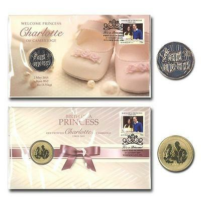 2015 Australia 2  Different Princess Charlotte Of Pnc Stamp &  Coin Cover