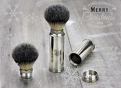 Synthetic Hair Travel Shaving Brush in  Nickel Handle.Perfect Gift For HIM
