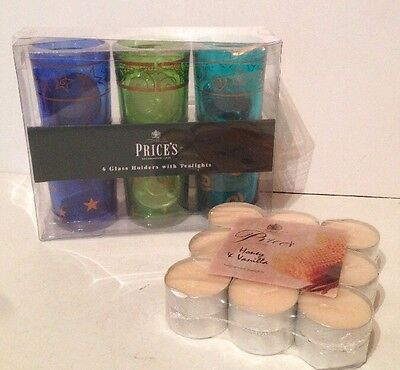 Price's 6 Glass Holders With Tealights & Price's Tealight Honey&Vanilla Set