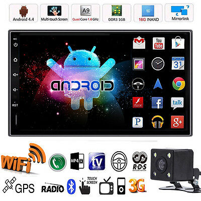 "7"" HD 2 Din Android Quad Core Car Stereo GPS MP5 Player Radio 3G Wifi +Camera"