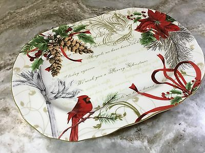 Holiday Wishes Serving Platter. 222 Fifth. Red. 14X10. Beautiful. New.