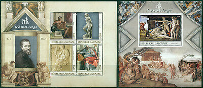 Art Michelangelo Paintings Architecture Middle Ages Italy Gabon MNH stamp set
