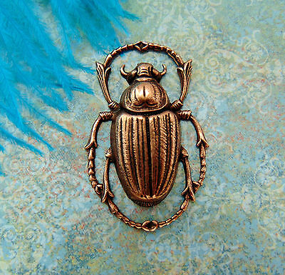 ANTIQUE COPPER Egyptian Bug Scarab Beetle Stamping ~ Finding (C-408) `