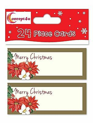 24 Gold Poinsettia Christmas Xmas Party Table Number Name Place Cards Dinner