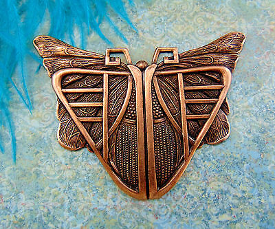 ANTIQUE COPPER Egyptian / Art Deco BUTTERFLY SCARAB Stampings (C-407) `