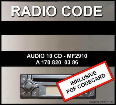 █►Radio Code für Mercedes ALPINE AUDIO 10 CD MF2910 - AL2910 UNLOCK KEY CODE