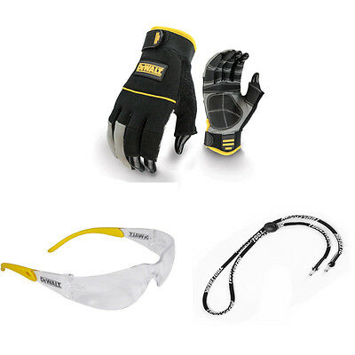 Dewalt Work Gloves Synthetic Leather ,Clear Lens Safety Glasses, Free Neck Cord