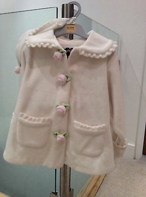 PETE'S PARTNER BNWT Girls Coat and Hat, Ivory Fleece with Matching Hat, Age 3