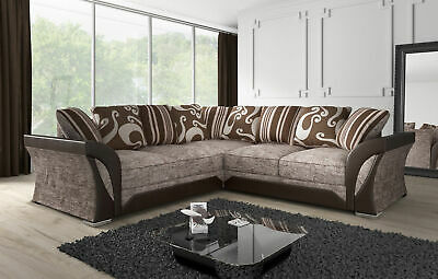 FARROW LEATHER & CHENILLE FABRIC CORNER SOFA, 2+3 SEATER in Brown or Black