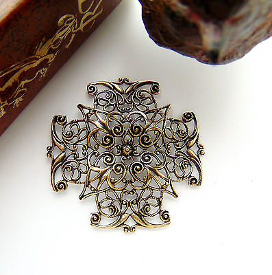ANTIQUE BRASS Cross Filigree Stamping ~ Ornament Findings (CB-3043) `