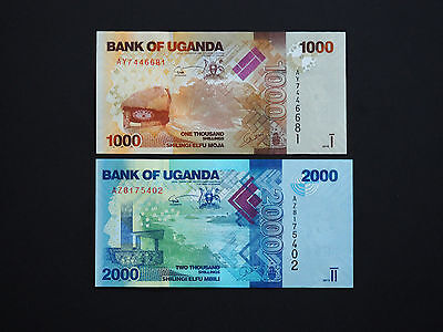 UGANDA BANKNOTES SUPERB SET OF TWO  1000  and  2000  SHILLINGS        MINT UNC