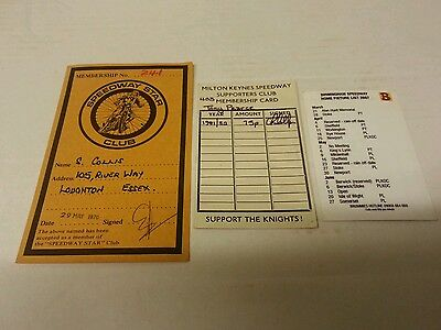 Three Speedway Membership & Fixture Cards