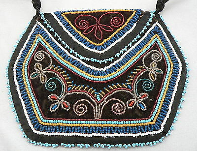1800's Antique Native American Beaded Flat Bag Iroquois or Seneca Indian Bead