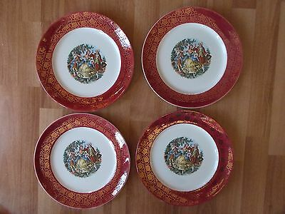 Stetson Warranted 22kt Gold Set of 4 Dinner Plates Rare-Burgundy w/Colonial/Vict