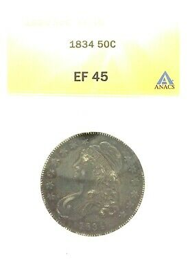 1834 Capped Bust Half Dollar ANACS Graded Extra Fine 45