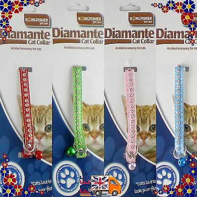 Cats Collar Lovely Crystal Diamante Rhinestone With Bell Safety Elastic Buckle