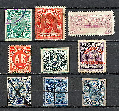 NNBI 165z COLOMBIA  1894 - 1910 OLD STAMPS REVENUE TELEGRAPH PROVISIONAL