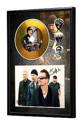 U2 Gold Vinyl Look CD, Autograph & Plectrum Display Bono/The Edge