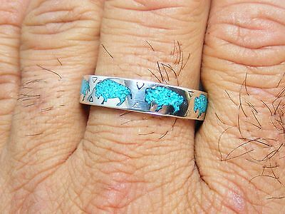 Navajo Sterling Silver Turquoise Buffalo Chip Inlay Men's RING Size: 14.75