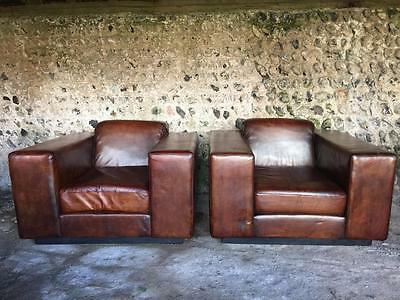 PAIR PERFECT LARGE ANTIQUE CHESTNUT LEATHER CLUB ARM CHAIRS C1970s VINTAGE RETRO