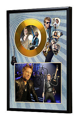 Jon Bon Jovi Gold Vinyl Look CD, Autograph & Plectrum Display
