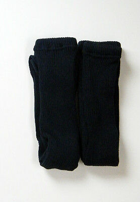 Girls soft, thick ribbed winter tights,black,2 pair pack, age 10-11 years