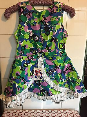"Vintage 1960s Deadstock Psychedelic ""Ooga"" Hot Pants Dress Romper Girls Sz. 8"