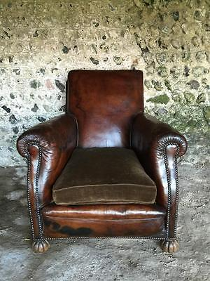 Grand Antique French Conker Leather Club Arm Chairs C1940 Vintage