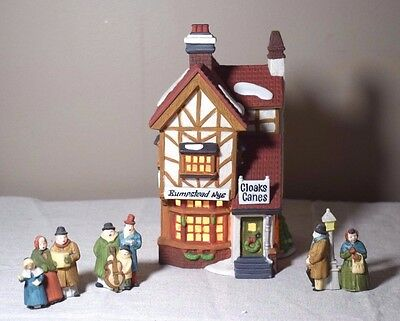 Dept 56 Dickens Village Bumpstead Nye Cloaks & Canes w/ Dickens Carolers Access.