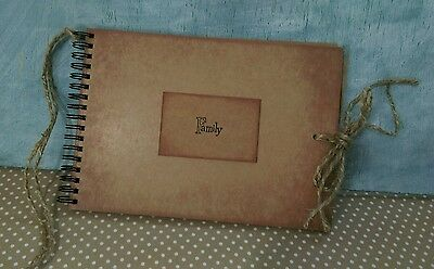 Rustic FAMILY Scrapbook handmade Photo Album memory book vintage recycled