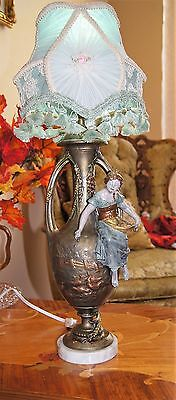 Antique Victorian Figural Peasant Girl  Lamp Chandelier Signed F. Morua France