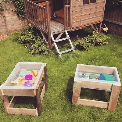 Wooden Sand Water Tray Garden Early Learning Nursery Mud Kitchen Outdoor